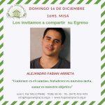 Domingo 16 de Diciembre – Egreso de Alejandro Arrieta